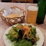 イル ヴェッキオ ムリーノ - パスタセットのサラダ、パン+ビール