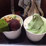 お茶の井ヶ田 喜久水庵 - ソフトクリームとわらび餅ソフト。
