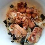 こけこっこ - 薬味(刻みネギ、海苔、山葵)と出汁をかけて、良く混ぜてたところ~♪(^o^)丿