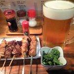 3195669 - 特大生ビールと焼き鳥&お通し