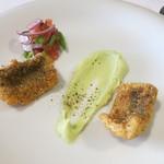 ダルソウシ - 穴子のフリット ポロネギと緑豆のムース