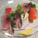 茨城レストラン フェリチタ - 真サバの軽い炙りと八郷の柿
