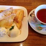 サン・やすらぎ おひさまの部 - フレンチトーストのアイス乗せとホットティー!