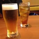 川太郎 - 、「晩酌セット」(1,800円)を注文しました。写真は晩酌セットの生ビール(サントリー モルツ・ザ・ドラフト)に単品注文のウーロン茶(300円)。