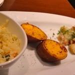 Nami - 左:海老と野菜のクスクス、中:安納蜜芋(種子島)、右:豚肉と長ネギのソテー