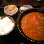 合鴨三昧 かもん - 合鴨とまとカレーうどん定食(1100円)