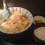 キナレヤ - エビ塩ラーメン(750円) + 半ライス(150円)