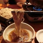 蕎麦 酒肴 京鴨 椿 - 鍋のお汁で