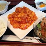 阿里城 - エビと玉子チリソース+ミニ油淋鶏定食