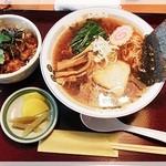 キッチンあすなろ - 醤油ラーメン+ミニソースかつ丼 850円