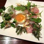DINING BAR TALAHT - 海老と水菜の生春巻き、本日の鮮魚のカルパッチョ(2014/10/29撮影)
