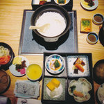 蟹御殿 - ①【朝食】ご飯がツヤツヤで美味しいです♪