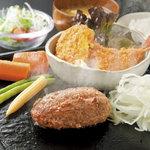 寛屋 - 料理写真:俵バーグ&一品料理、ご飯のお替りが自由!大人気の日替わりランチです。