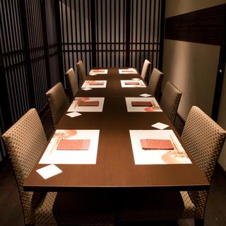 個室完備最大12名様まで御利用頂けるテーブル個室もございます