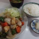 きがる食堂 - ランチ;スブタ定食550円