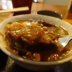石臼そば - カレー丼の鶏肉アップ