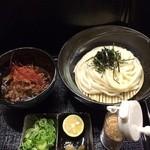 柔製麺 - 辛・国産煮込み牛肉と土ゴボウのつけ麺 830円