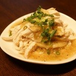 肉汁水餃子 餃包 - 蒸し鶏のネギソース