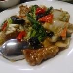味楽 - 揚鳥の彩り野菜の辛み定食750円