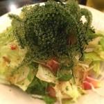 """てぃんがーら - [過去ログ]海ぶどうサラダが予想以上にボリューミーで嬉しかった♡  [old post] """"umi budou"""" (kind of seaweed) salad was bigger than expected! Happy<3  #沖縄料理 #okinawanfood #海ぶどう #regionalcuisine #japanesefood #favorite #marinevegetables"""