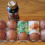 野上養鶏場 - 味宝卵・L10個 270円、専用たまごしょうゆ 250円