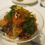 Il Giglio - 柏市場の鮮魚のカルパッチョと魚介類・玉葱のパンナコッタ コンソメジュレがけ