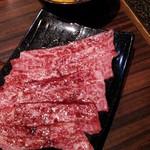 家族亭 韓炉 - 月見トロ肉炙り¥980 軽く炙って特製のたまごのタレにくぐらせて食べました♪お肉が甘くて旨かった!