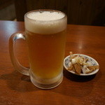 桜木屋 - 生ビールはモルツ・・お通しが付く。