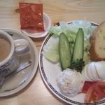コメダ珈琲店 - カフェオーレ、サラダバケット