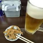 岡村屋 - ピリッとシナチク(゚д゚)ウマーでビール♪