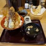 天ぷら海鮮 五福 - 五福天丼¥880(税別)と単品ちくわ¥100(税別)