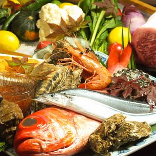 本日市場から届いた鮮魚のお造り