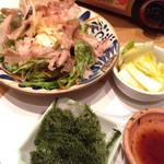 32224512 - 沖縄料理とあぐー豚しゃぶしゃぶ鍋食べ放題(¥1,680) 島豆腐と島野菜のサラダ、沖縄海ぶどう、白菜のシークワァーサー漬け