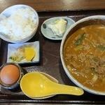 千吉 - 料理写真:和牛カレーうどん定食 ¥650(税込)+たまご ¥20(税込)