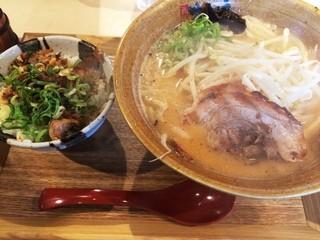 味噌乃家 熊本十禅寺店 - 味噌ラーメンとミニ飯セット(830円)