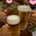 ろばた・すし ひかり - カンパーイ(生500円とウーロン茶300円)