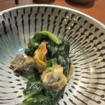 酒菜 楽 - もう一品はアサリとほうれん草の酢味噌和えでした。
