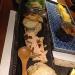32263899 - 出汁巻きたまご、フォアグラパテ、銀鱈西京焼き
