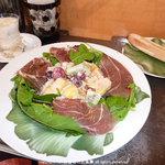 Forbidden Fruit - 生ハムと季節のフルーツサラダ ホワイトショットとバゲット付きで800円
