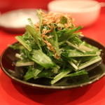 龍文支店 - 水菜と揚げたしらす蒸したしらず