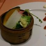 蔭山樓 - コースの蒸野菜 2014.10