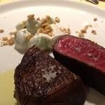 イルチッチォーネ - 新潟和牛 芯玉の炭焼き。 芯玉とはモモ肉の一種。動かない部位なので ぽわーんとした食感の筋が少ない希少な部位。
