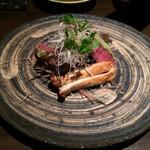 柊草 - 神戸牛網焼きわさび風味エリンギ添え。激うま!