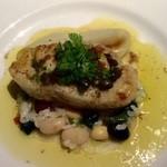ラ・フランス亭 - 魚料理、リゾットの上にはソテーされた鱈。