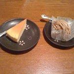 スーパーキッチン かさや - デザート チーズケーキ(左)とモンブラン(右