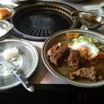 レストラン ゆうき - ハンバーグセット:メイン+ライス (ツレの食べかけ)