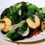 THE KAIEN - 海鮮と青菜のマスタード風味揚げそば