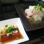 かわなみ鮨 - 黒鯛刺身(肝ポン酢付き)