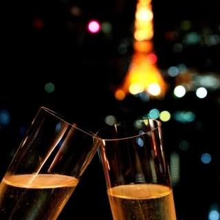 東京タワーを正面にシャンパン片手に乾杯デート♪