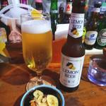 ゴホウビ - レモンビールとお通しのドライフルーツ&ナッツ